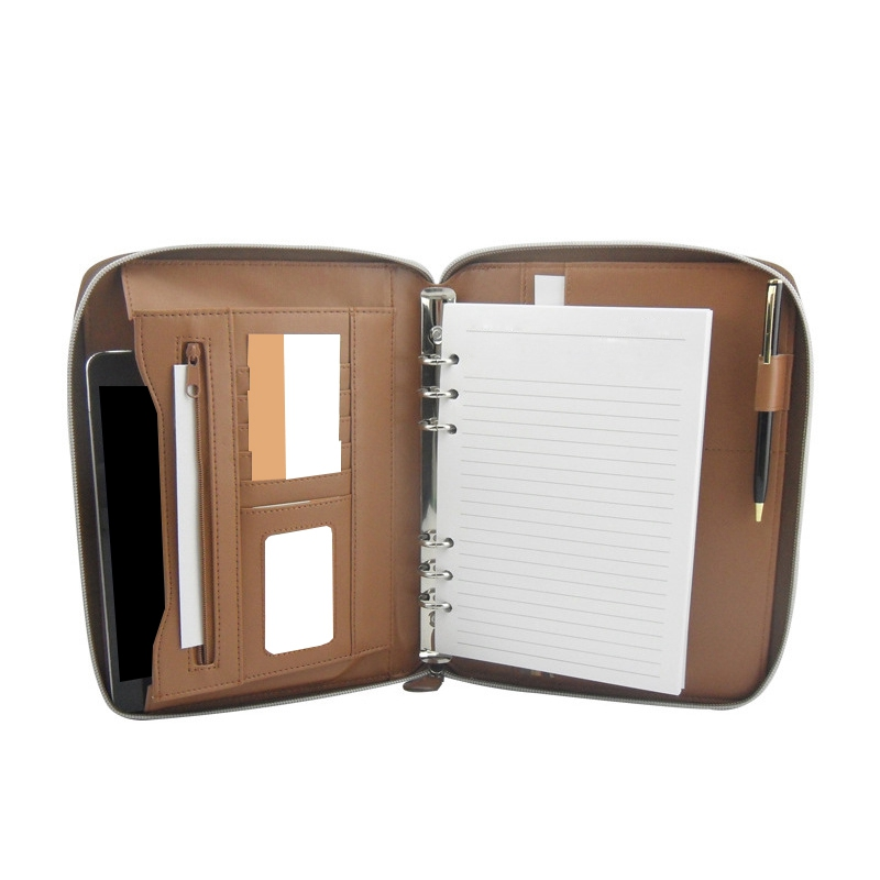 Professional Business Portfolio Briefcase Style Organizer Folder With Handles Notepad-Brown Synthetic Leather