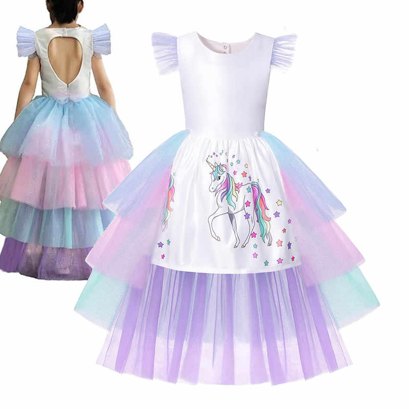Kids Unicorn Birthday Party Clothes Unicorn Dress Girl Rainbow Layered Frocks Flying Sleeves Toddler Princess Cosplay Costumes