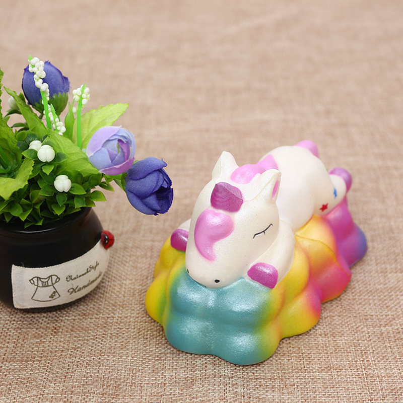 Colorful Kawaii Unicorn Squishy Slow Rising Bread Scent Soft Squeeze Toy Stress Relief Antistress Simulation Fun For Kid Gift