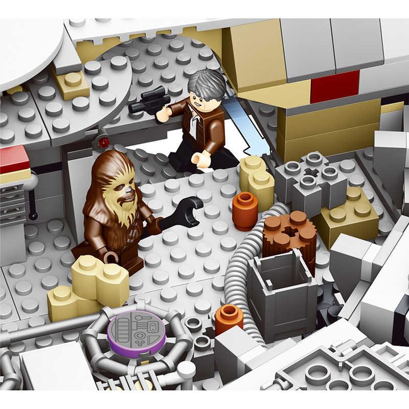 Строительные блоки, набор кирпичей, совместим с Legoe Movie Star Wars The Force Awakense Millenniumi, игрушки Falcon для мальчиков и девочек, модель
