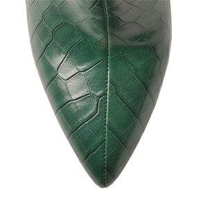 Image 5 - Onlymaker wskazał Toe10CM wzór z kamieniem z powrotem zamek masywne szpilki na wysokim obcasie zielone modne grube botki duży rozmiar US5 ~ US15