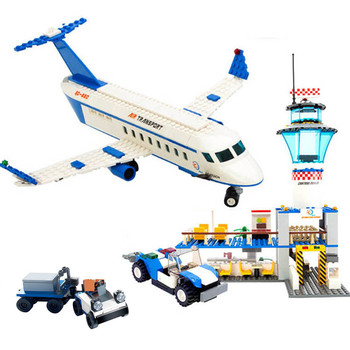 City International Airport Aviation Aircraft Technic Model Building Blocks Sets Figures DIY Bricks Educational Toys for Children 614pcs city engineering excavator construction building blocks sets figures diy bricks creative educational toys for children