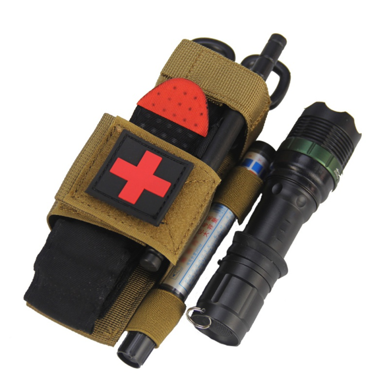 Flashlight Scissors Hanging Bag Outdoor Hiking First Aid Quick Slow Release Buckle Medical Military Tactical Tourniquet Strap
