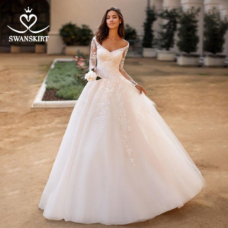 Fashion Long Sleeve Wedding Dress 2019 Swanskirt Appliques Lace A-Line Princess Court Train Bride Gown Vestido De Noiva MY05