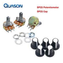 5 pçs/lote WH148 50 20 10 1K K K K 100K 500K Ohm 15mm 3 Pinos Linear Taper Rotary Potenciômetro Resistor para Arduino com AG2 boné Branco
