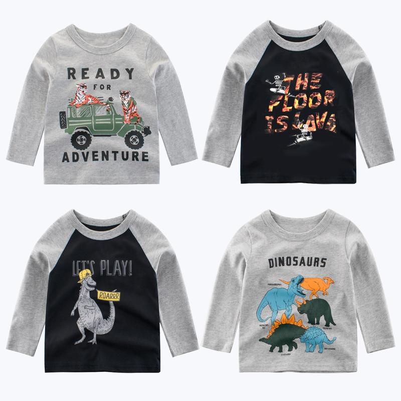 2019 Nova Crianças T-Shirt de Algodão Crianças de Dinossauros T Topos da Camisa Para Meninos Meninos de Manga Longa Camisetas Meninas Do Bebê Roupas tshirts