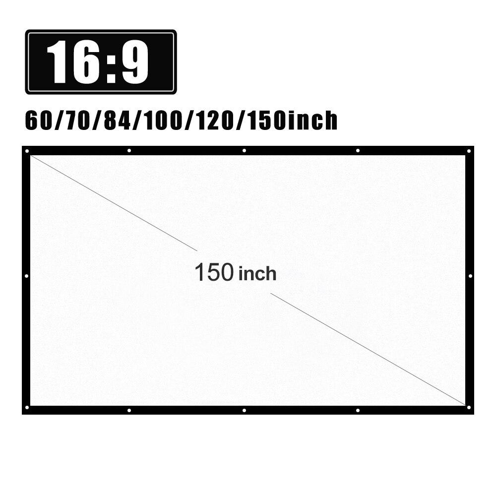 H150 tela portátil para projetor, 150 polegadas, 169, hd, dobrável, tela de projeção, branco para parede, home theater, bar, viagem