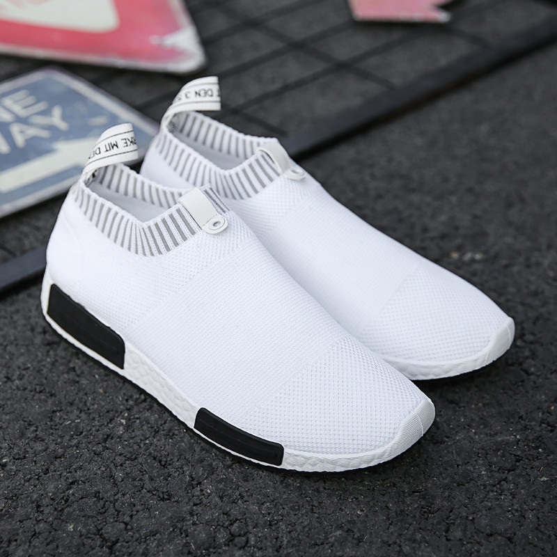 Summer Men Shoes Solid Slip On Comfortable Casual Shoes Men Black White Light Weight Sneakers Shoes