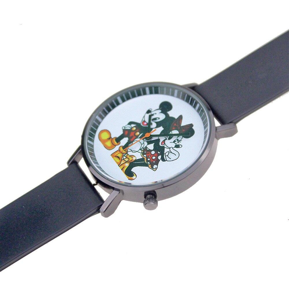 Микки Маус часы мягкий пластик ремешок черный корпус модный милый мужской и женский студент пара Микки часы