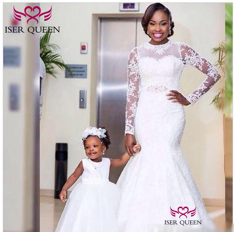 Embroidery Pearls Illusion Long Sleeves Mermaid Wedding Pure White Bridal Gown Stylish Vestido Novia Sirena W0471