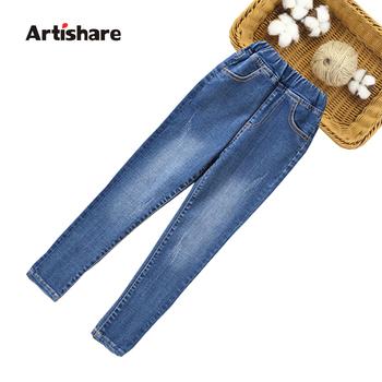 Dżinsy dla dziewczynek smukłe spodnie ołówkowe dżinsy dziecięce w pasie dżinsy dziecięce jesienne modne dżinsy spodnie dla dziewczynek 6 8 10 12 14 tanie i dobre opinie Artishare Na co dzień Pasuje prawda na wymiar weź swój normalny rozmiar 0383953 Elastyczny pas Dziewczyny Stałe REGULAR