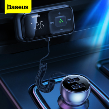 цена на Baseus Car FM Transmitter Bluetooth 5.0 3.1A USB Car Charger AUX Handsfree Wireless Car Kit Auto FM Radio Modulator MP3 Player