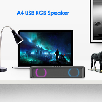 A4 6W RGB USB Wired Powerful Computer Speaker Bar Stereo Subwoofer Bass speaker Surround Sound Box for PC Theater TV Speaker 2