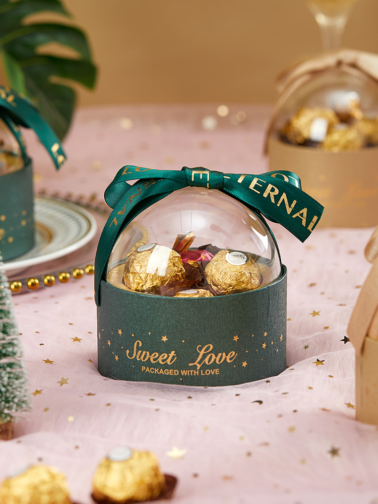 10 Pcs Lot Acrylic Transparent Round Ball Candy Box Creative Chocolate Box Wedding Package Gift Boxes Christmas Party Supplies