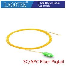 24/50/100/200/adet SC/APC fiber lif Simplex 9/125 tek modlu Fiber optik Pigtail 0.9mm LSZH sarı