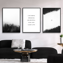 Forest Landscape Poster Black And White Print Quotes Foggy Mountain Canvas Painting Scandinavian Wall Picture Home Decor