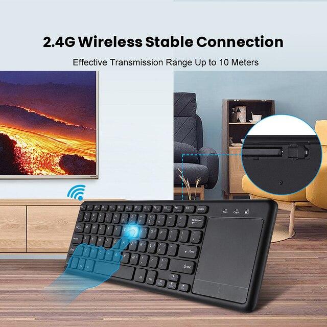 Clavier de bureau multimédia sans fil AVATTO Whisper silencieux 2.4GHz avec souris Touchpad combinée pour Windows PC,Smart TV, boîte Android
