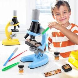 Детский набор биологического микроскопа, лабораторный светодиодный микроскоп 100X-400X-1200X для дома и школы, развивающая игрушка, подарок для д...