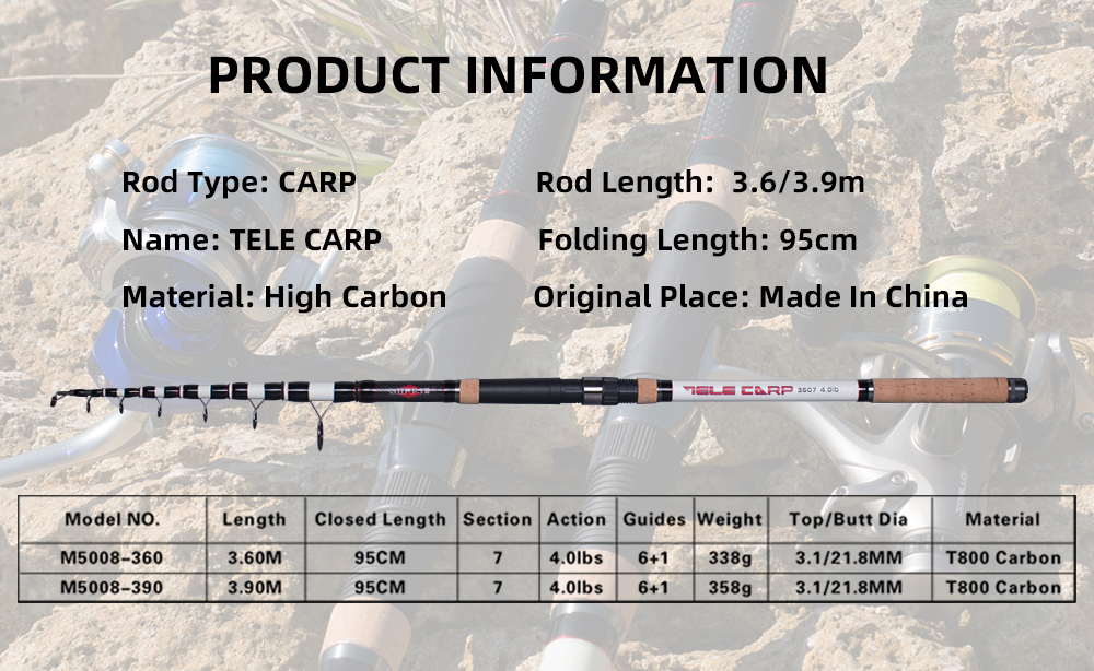 Mifine telescópica carpa vara de pesca 4.0lb