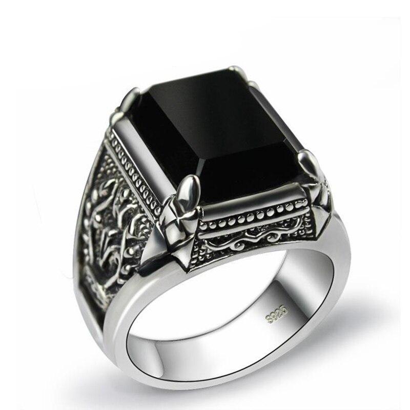 SNew silber retro nische design große dominierenden übertrieben schwarz ring öffnung einstellbar männer schmuck|Ringe|   - AliExpress