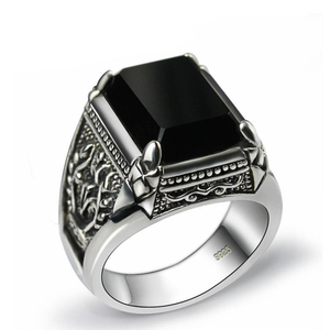 SNew silver retro niche design big domineering exaggerated black ring opening adjustable men's jewelry