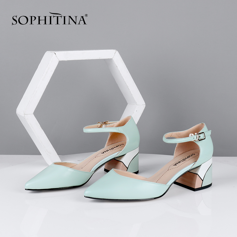 Cheap SOPHITINA Elegant Women Pumps Pointed Toe Square Heel High Buckle Ankle Strap Shallow Fashion Shoes Sheepskin Casual Pumps MC635