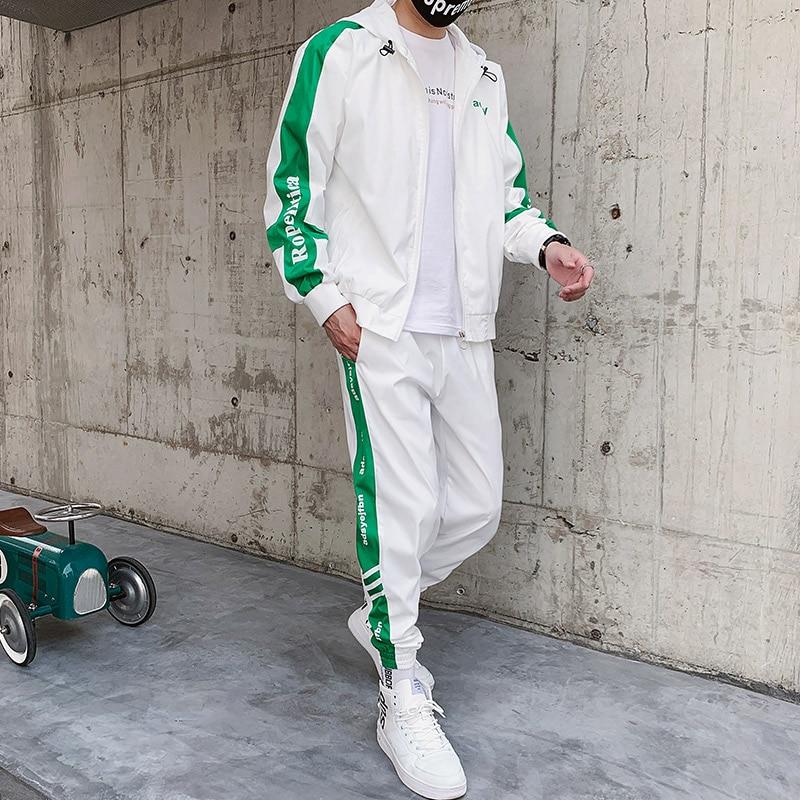 Mens Casual Sports Suit Hooded Fashion Autumn Waterproof White Tracksuit Men Tuta Sportiva Uomo Men Long Sleeve Set Solid HH50TZ