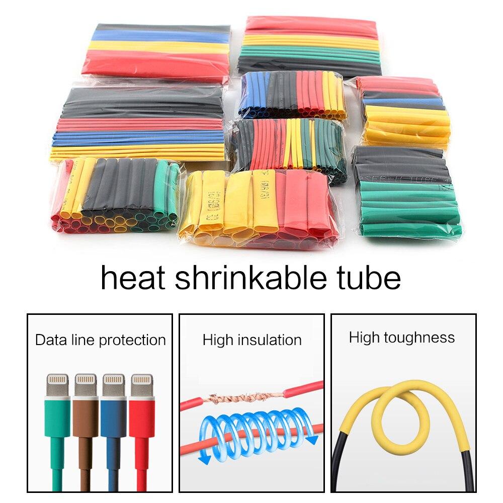 164 pçs/set tubo do psiquiatra do calor do tubo do psiquiatra do calor da isolação termoretractil da luva do cabo do fio do envoltório da tubulação do psiquiatra do calor 1 2 3 4 6 8 10 14mm|Luvas de cabo|   -