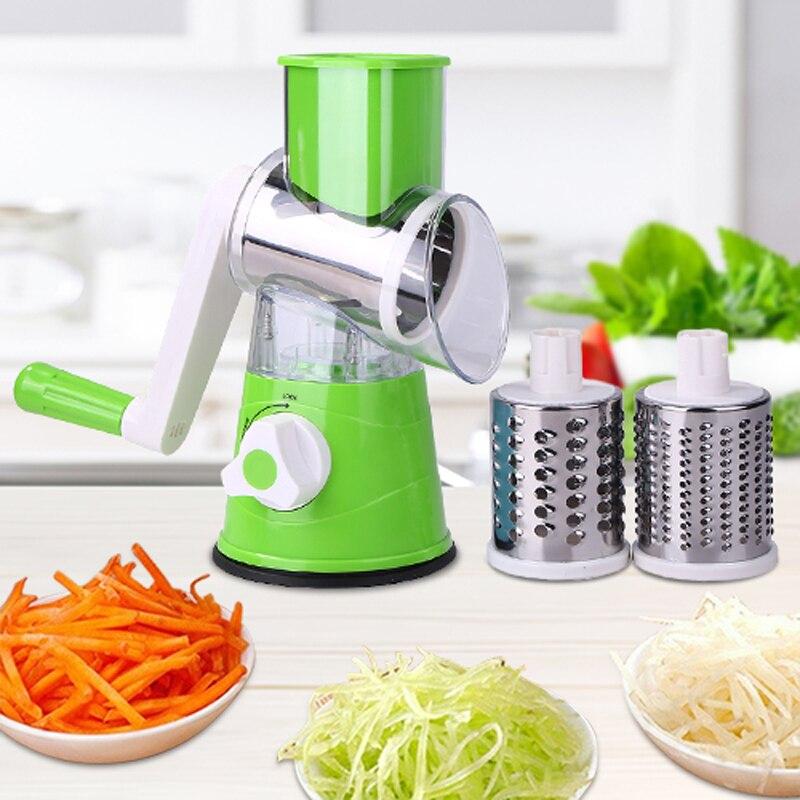 다기능 수동 야채 과일 커터 감자 파쇄 강판 스테인레스 스틸 라운드 슬라이서 주방 악세사리 요리 도구