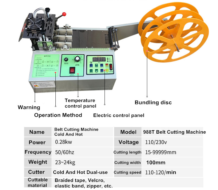 988T Automatic Microcomputer Belt Cutting Machine Cold And Hot  Electric Ribbon Elastic Braid Cutter Zipper Cutting Machine