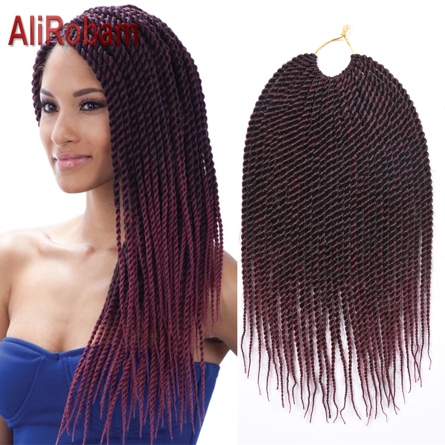 AliRobam Crochet Braids Havana Mambo Twist Braids 14 18 22inch Synthetic Fiber Senegalese Twist Hair Extensions 30 Strands/pack