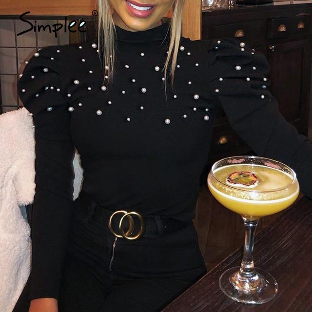Simplee Borda dolcevita perla più il formato camicetta delle donne camicia Casual di usura del lavoro elegante pullover top manica lunga Primavera blsus
