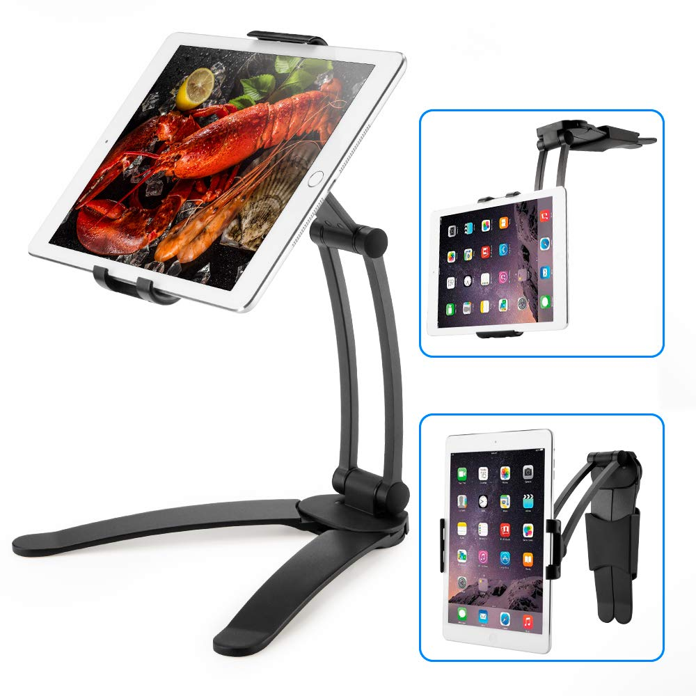 Univerola Aluminum Tablet Stand Cell Phone Stand Folding 360° Swivel Desk Mount Holder For Ipad Iphone 11 Kitchen Bedside Office