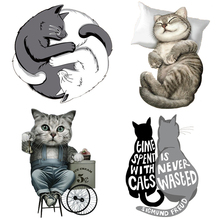 cute sleep cat Applique iron-on transfers for clothing stickers Iron on transfer patches vinyl transfer iron on t-shirt clothes diy custom brand logo patches for clothes iron on transfers for t shirt heat transfer vinyl sticker thermal transfers applique