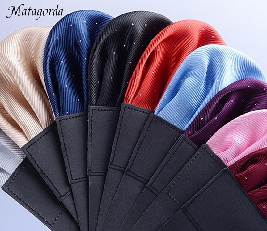 Matagorda Men Accessory Pre-folded Pocket Square Solid Polka Dots Handkerchiefs Formal Wedding Party Business Chest Towel Hanky