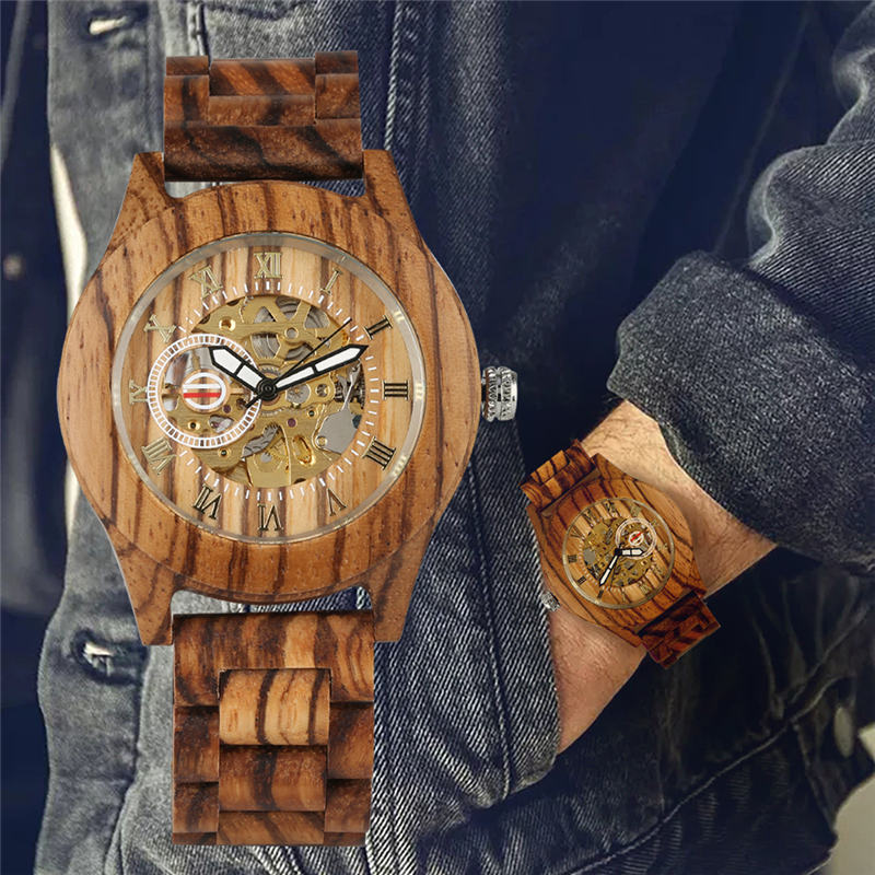 Automatic Mechanical Watch Wooden Lightweight Self-winding Tevise Watches Natural Rbony Red Sandalwood Uhren Herren Xmas Gift