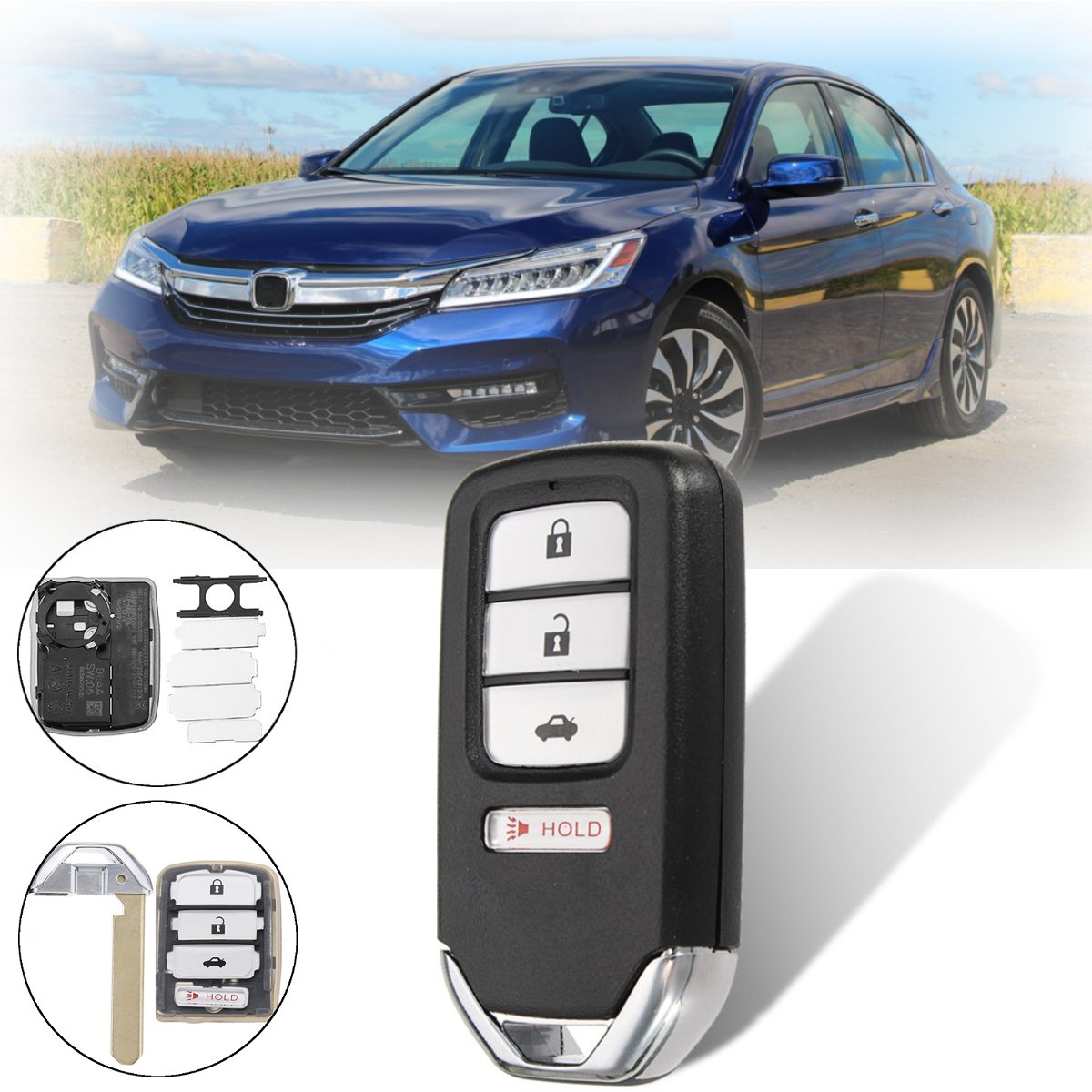 NEW Blade Replacement Keyless Remote Shell Case Key FOB for Honda 3+1 Buttons