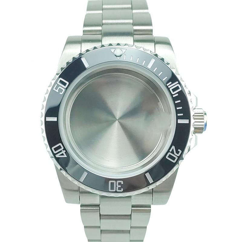 10ATM 40mm Black Ceramic Bezel Diver Watch Case With Bracelet Mods High Quality S/S Fit ETA2836 Miyota8215 Sapphire Crystal