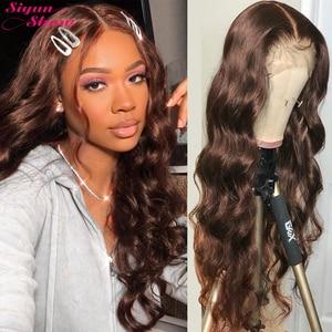 30 дюймов, коричневые кружевные передние человеческие волосы, парики, бразильские волнистые волосы, 360, кружевные передние, al парики, предвар...
