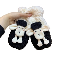 Mittens String Faux-Fleece-Gloves Girls Winter Windproof Sheep Cartoon 3D with Plush-Lining