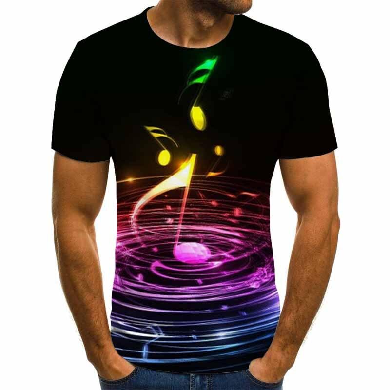 2019 Hot Sale Hip Hop Men T-shirt Music Notes T Shirt Punk Rock Tshirt Male Print Clothes Black Tops Tees Summer Popular