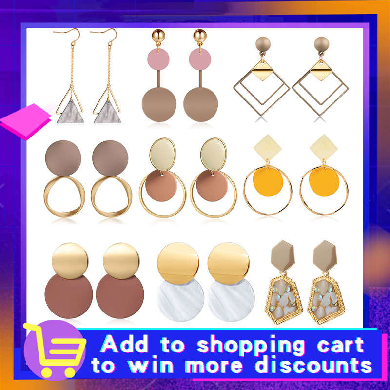 X&P New Korean Heart Statement Drop Earrings 2020 for Women Fashion Vintage Geometric Acrylic Dangle Hanging Earring Jewelry 1