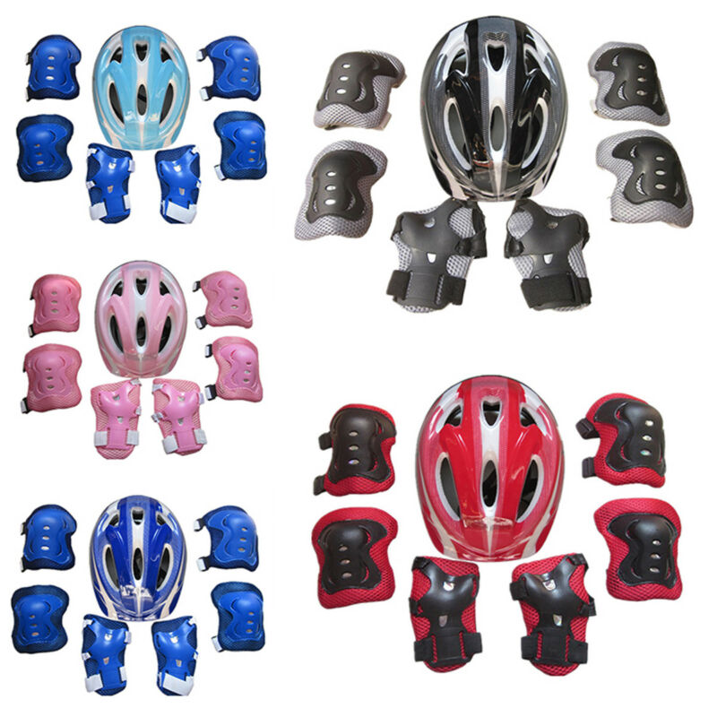 7pcs//Set Boys /& Girls Kids Skate Cycling Bike Safety Helmet Knee Elbow Pad Guard