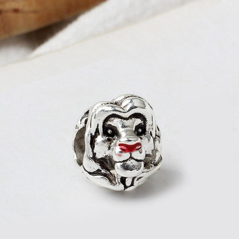 Новинка, сплав, шарик Микки и Минни, сказочный Дамбо, любовь, шарм, подходит для Пандоры, браслет, ожерелье, сделай сам, Женские Ювелирные изделия - Цвет: Silver Lion