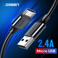 Ugreen Cable Micro USB 2.4A de carga rápida Cable de datos USB Cable de teléfono móvil Cable de carga para Samsung Huawei HTC Android Tablet Cable