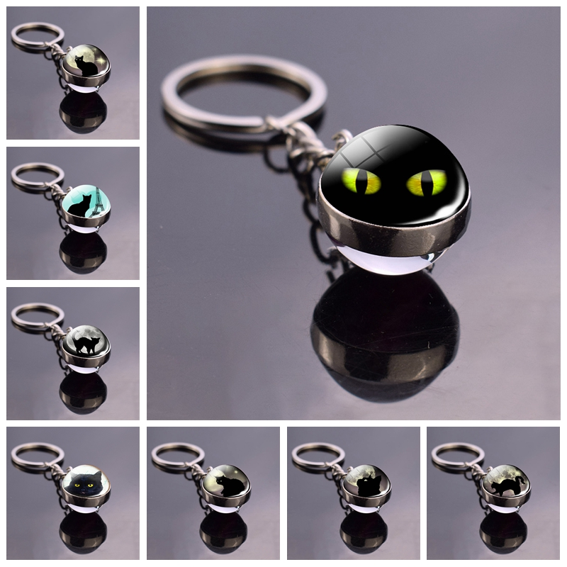 Black Cat Pumpkin Head Bat Jewelry Full Moon Double Sided Keychain Men Women Halloween Gift Fashion Accessories
