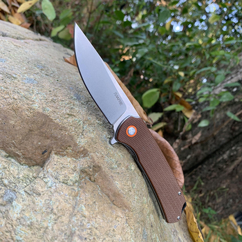 TUNAFIRE D2 folding outdoor camping Pocket knife  High-end linen  handle hunting survival tactical knives EDC tool 1