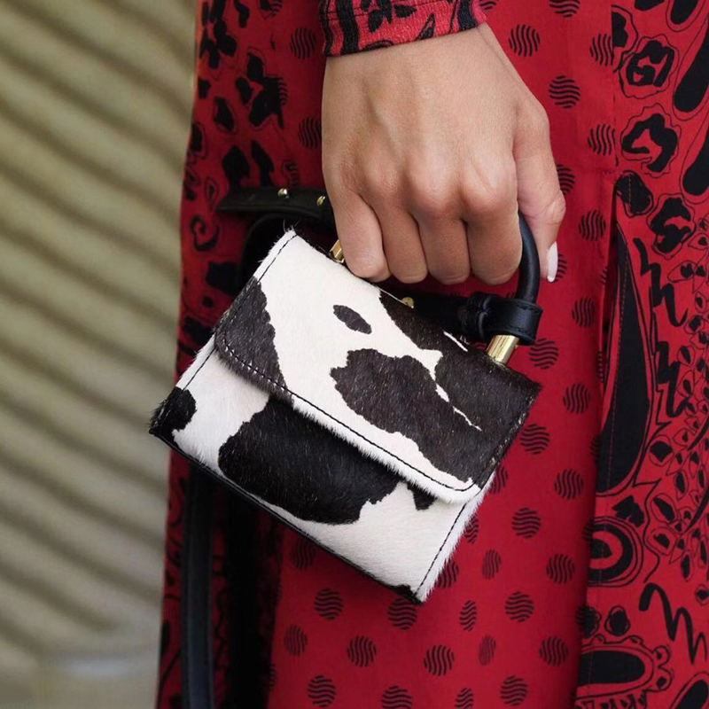 Vintage Cow Pattern Mini Women Handbags Designer Shoulder Bags Luxury Pu Leather Crossbody Bag Lady Small Purse Female Bags 2020