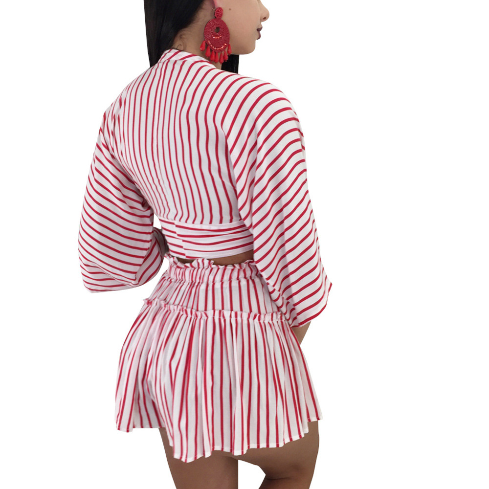 Ls6090 Dunhuang  Wish Hot Selling Sexy Stripes Shorts Set Bandage Cloth