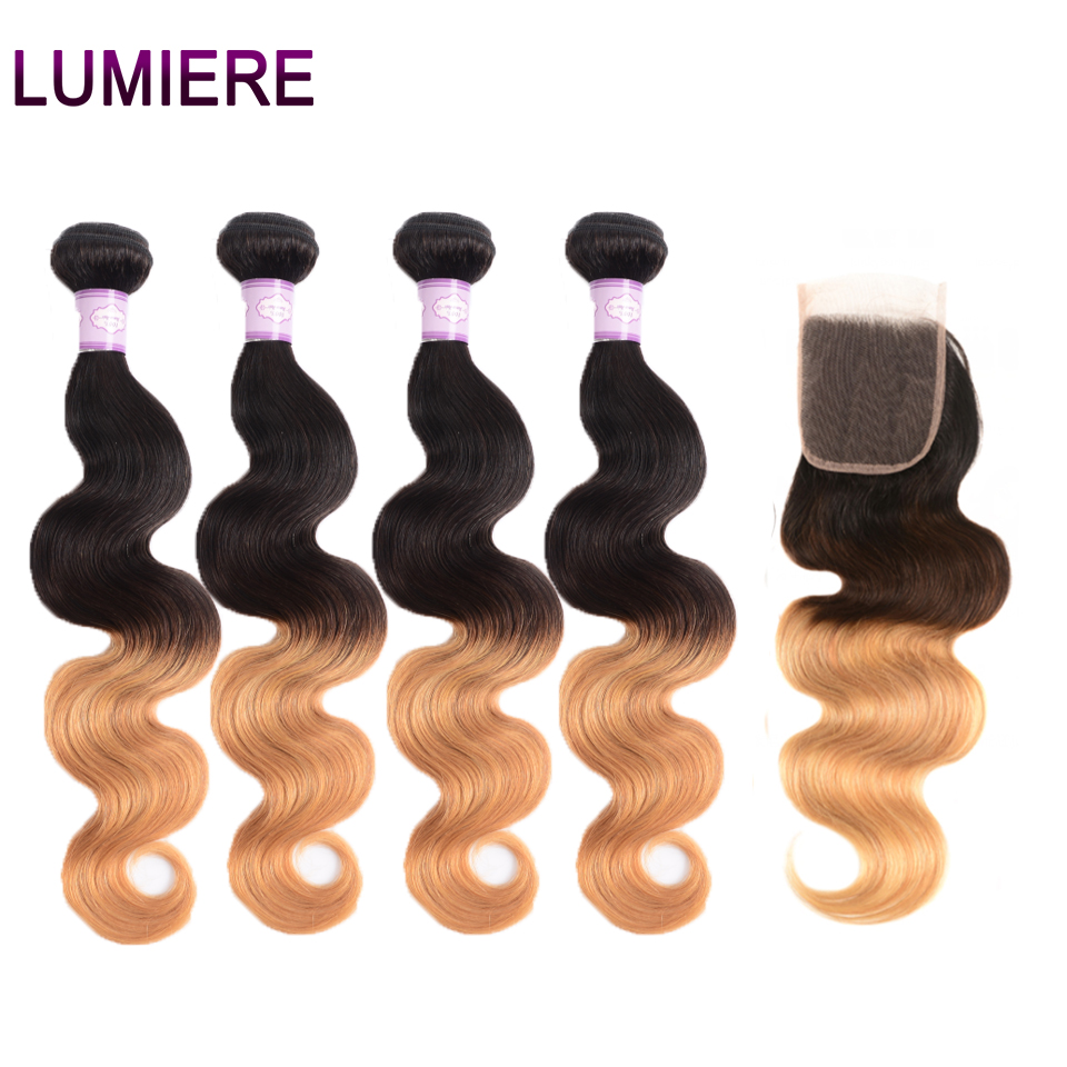 Lumiere Hair Indian Body Wave Ombre Bundles With Closure 4 Human Hair Bundles With 4X4 Closure T1B/4/27 Remy Hair Weave Bundles